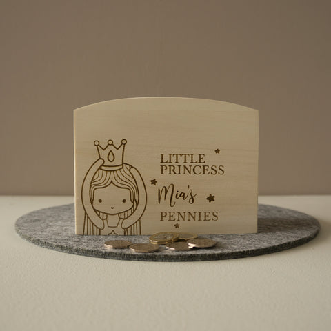Little princess money box. Personalised penny jar funds box