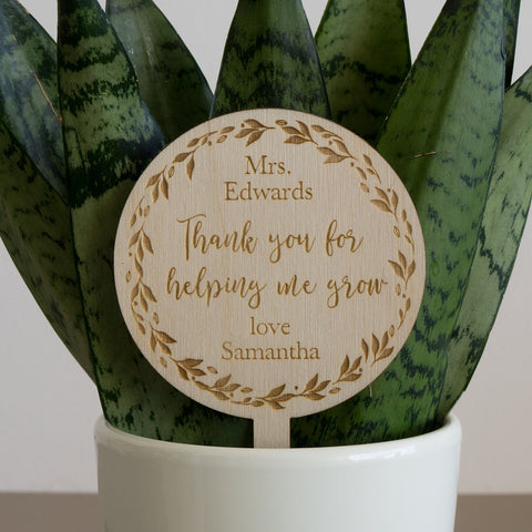 End of term present for teacher. Personalised plant topper