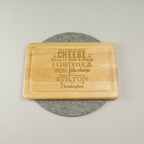 Funny cheese lover chopping serving board