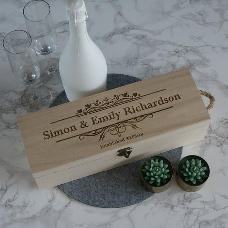 Personalised wedding wine box. Engraved wooden gift box