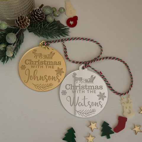 Personalised family name Christmas decorations
