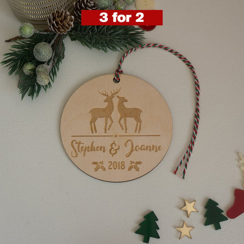Personalised deer decoration for couples