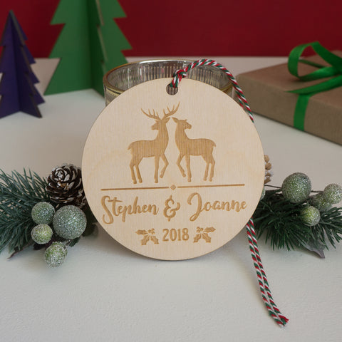 Personalised wooden Christmas decoration for couples
