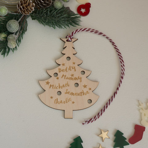 Personalised family Christmas tree decoration