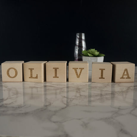 Custom engraved wooden blocks