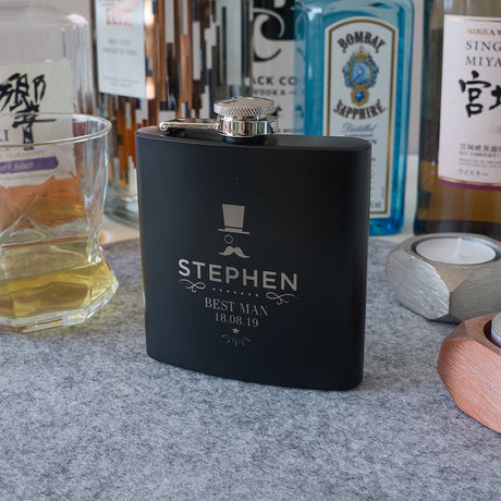 Custom engraved best man groomsmen hip flask