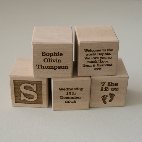 New baby engraved wood blocks