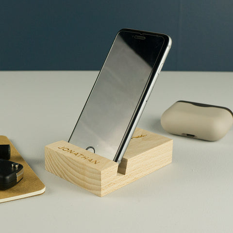 Personalised oak mobile phone stand