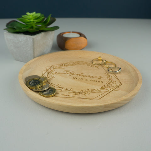 Wooden floral loose change tray