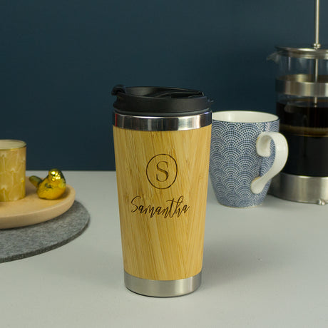 Bamboo vacuum insulated travel coffee mug