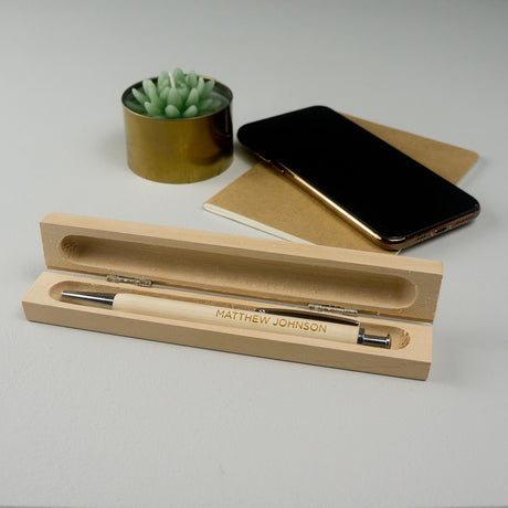 Personalised wooden pen and box