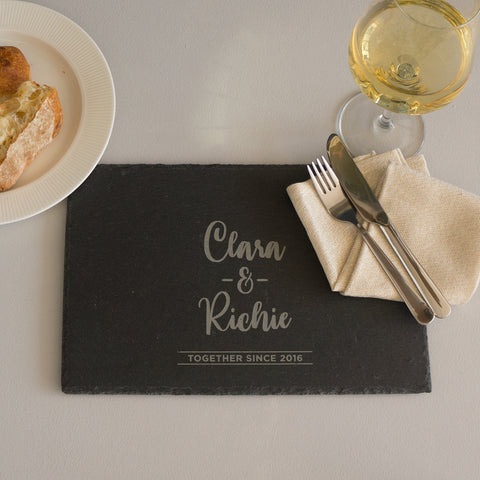Personalised couple's slate placemat
