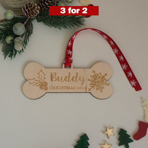 Personalised dog memorial Christmas decoration