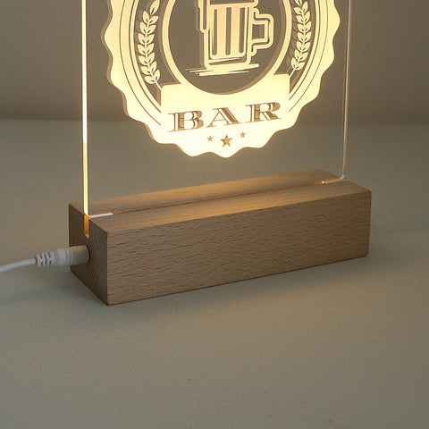 Personalised home bar LED sign. Engraved table light