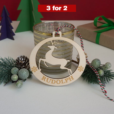 Personalised reindeer Christmas tree bauble