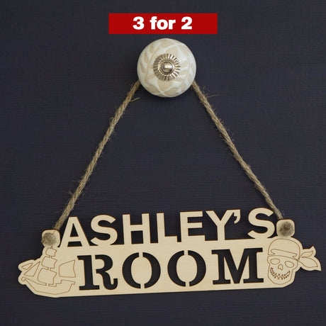 Pirate themed boy's bedroom name sign