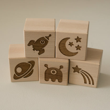 Space man theme new baby wood blocks