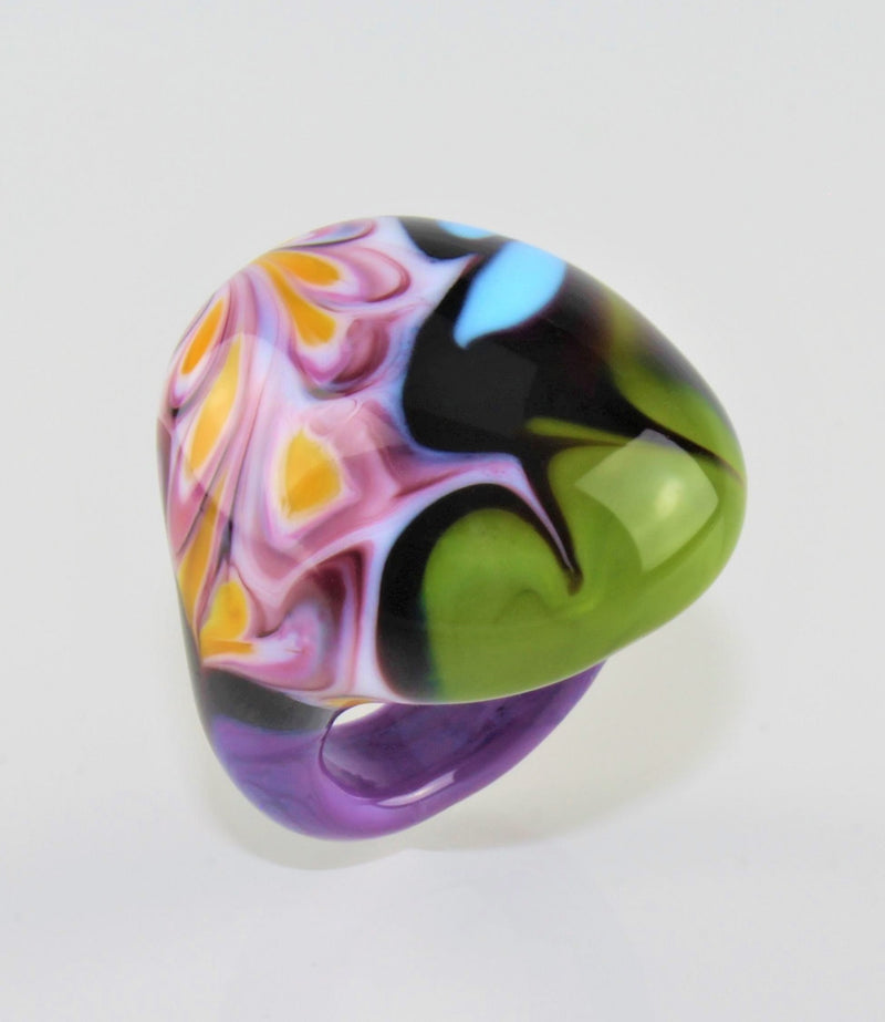 "Ring ""Arizona"" No 10, Borosilikatglas, multicolor"