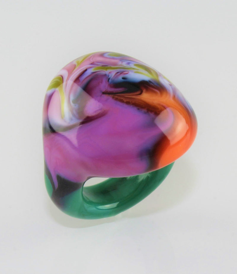 "Ring ""Arizona"" No 8, Borosilikatglas, multicolor"
