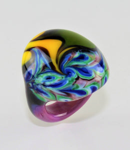"Ring ""Arizona"" No. 9 , Borosilikatglas, multicolor"