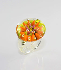 "Ring ""Morgentau"" , Orange, Borosilikatglas"