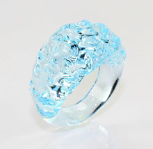"Ring ""mountain and valley"", Farbe: Blau-Kristall , Borosilikatglas"