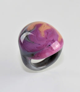 "Ring ""Arizona"" , Borosilikatglas, multicolor, grau-violett"