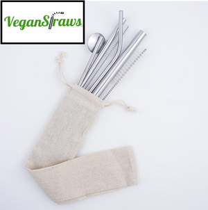 Mix of 4 Stainless Steel Straws Bundle with Fabric carrying case - VeganStraws