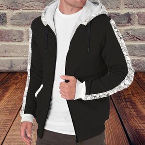 [blouson-double-sherpa-black-flower-ouvert] - Planet Zen
