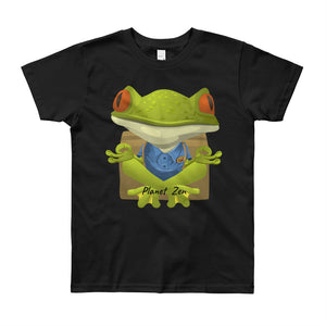 [t-shirt-enfant-noir-8-12-ans-meditating-frog] - Planet Zen