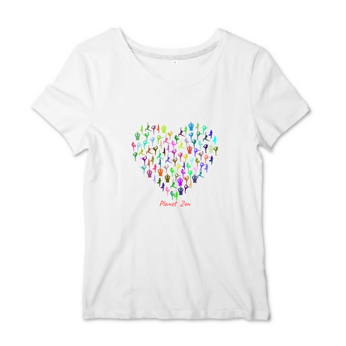 [t-shirt-femme-blanc-coton-i-love-yoga] - Planet Zen