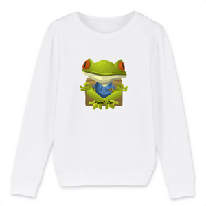 [sweat-shirt-enfant-blanc-meditating-frog] - Planet Zen