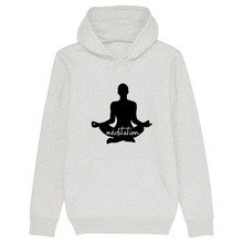 [sweat-a-capuche-blanc-coton-bio-meditation] - Planet Zen