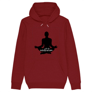 [sweat-a-capuche-bordeaux-coton-bio-meditation] - Planet Zen