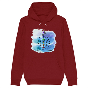 [sweat-a-capuche-bordeaux-coton-bio-chakras] - Planet Zen