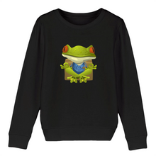 [sweat-shirt-enfant-noir-meditating-frog] - Planet Zen