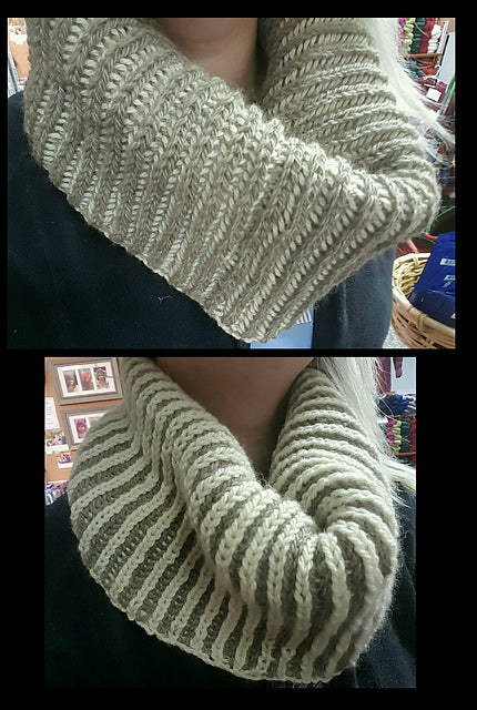 2 Color Reversible Brioche Cowl