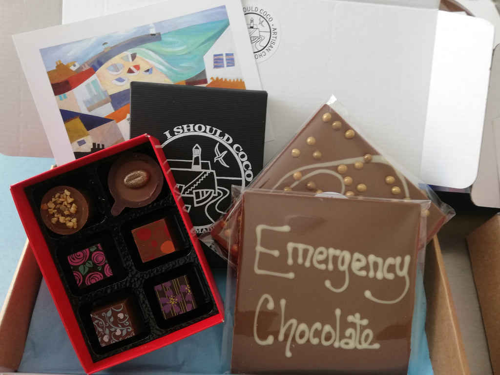EMERGENCY chocolate red cross parcel