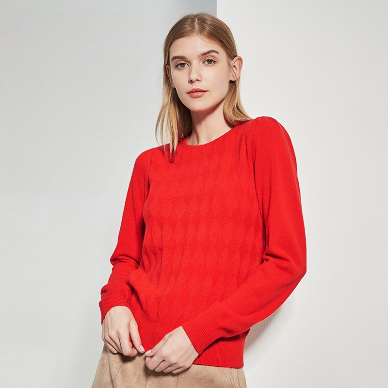Women's 100% Cashmere Crew Neck Jacquard Weave Sweater