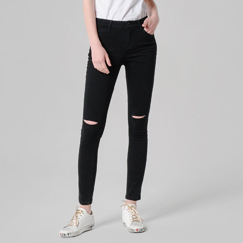 Women's Mid-Waist Elastic Ripped Jeans