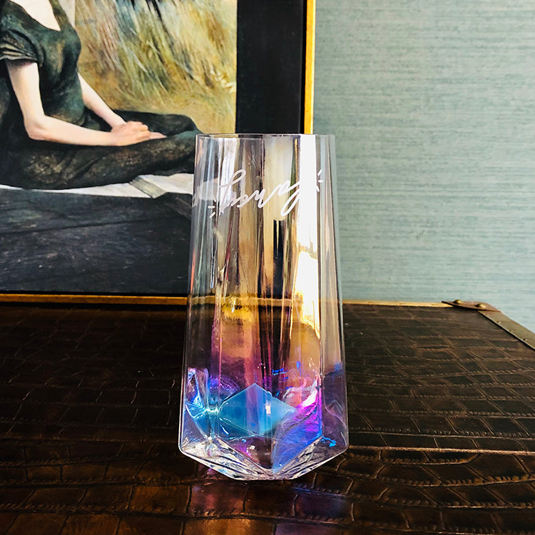 Iridescent Stemless Champagne Crystal Water Glass - Booth79