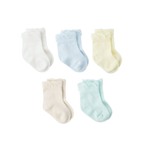Baby Boy and Girl Cotton Wide Cuff Socks 5-Pack - Booth79