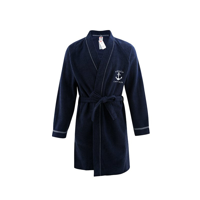 Do Do Men's Extra Lightweight Navy-Blue Bathrobe with Strap - Booth79