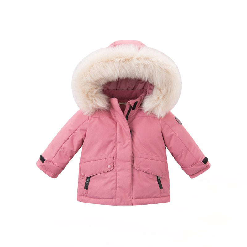 DAVE BELLA Girls Thicken Fleece Hooded Pink Down Jacket - Booth79