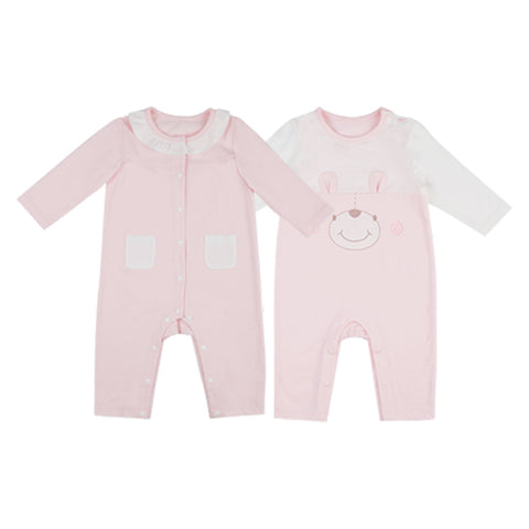 2 Packs Newborn Baby Pink Jumpsuit - Booth79
