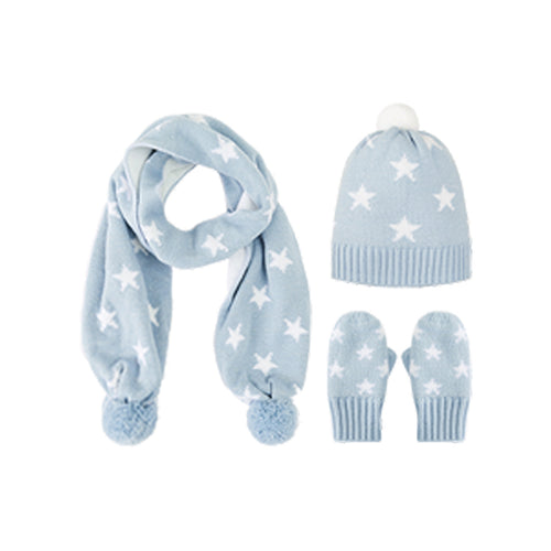 Kids Double Layer Warm Hat Scarf and Gloves 3-Piece Set - Booth79