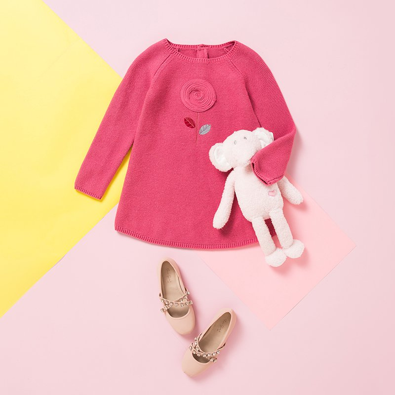 Girls Pink Sweater Dress Made with Organic Cotton and Wool - Booth79