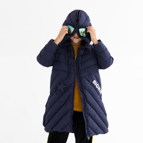 Kids Hooded Long Down Jacket with Ski Googles - Booth79