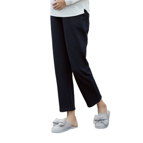 +5.5°C Warm Velvet Pregnant Stomach Lift Straight Pants - Booth79
