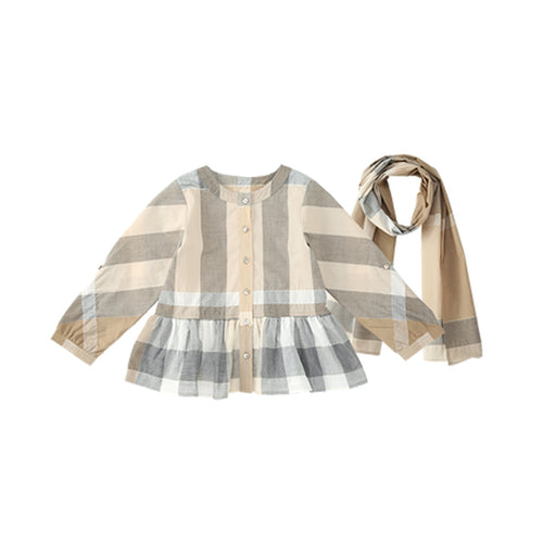 Girl Long Sleeve Plaid Shirt Dress (with Scarf) - Booth79